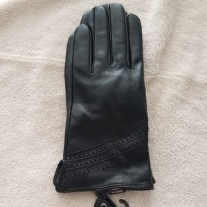 Black Leather Woman's Gloves